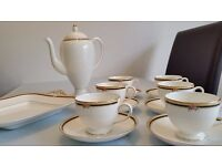 """Wedgwood England CLIO Coffee pot and 6 Cup & Saucer plus TWO HANDLE CAKE PLATE 11 1/8"""""""