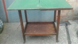 ANTIQUE WOODEN TROLLEY CARD TABLE
