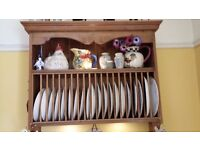 antique pine plate rack and spice rack