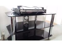 Black Glass and Chrome TV and DVD Stand