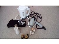 Travel kettle and camping hairdyer