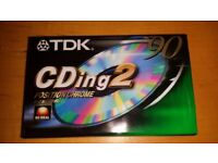 TDK CDing 2 90 CHROME HI BIAS SEALED BLANK TYPE II AUDIO RECORDING CASSETTE TAPE