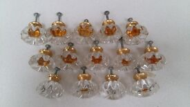 14 x Glass and Brass colour Cupboard Door Knobs