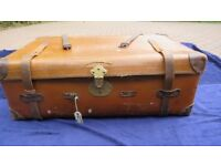 Leather travel trunk large Trunk in poor but restorable condition 36inx12inx24in
