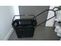 5 x Black Plastic Wheelie Retail Shop Store Grocery Baskets Shopping Baskets