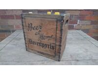 VINTAGE ORIGINAL 1960S DAVENPORTS RUSTIC STORAGE BEER WINE CRATE 6 SECTION WIRED DECOR DISPLAY VGC