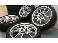 "Rota Torque style 17"" 4x100 4x108 alloy wheels + good tyres Vauxhall Honda Ford citreon"