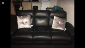 3&2 black leather recliners