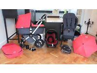 RED BUGABOO CAMELEON2 PRAM + MAXI COSI CAR SEAT & MANY EXTRAS-RRP£1170.00