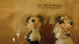 Disney Minnie and Mickey bride and groom wedding salt and pepper shakers