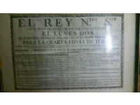 Antique 18th century 1783 Spanish Bull Fight pamphlet poster