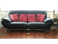Black Leather Sofas 3/2/1 Seaters Plus Matching Footstool in Very Good Condition