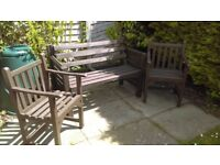 GARDEN BENCH AND TWO ARMCHAIRS , WOOD, GOOD CONDITION