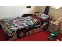 Black racing car bed