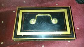 vintage Black & gold metal cash box