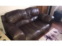 M&S leather 2 seater sofa and chair