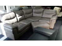 EX-DISPLAY SCS LARGE GREY QUALITY SOFT LEATHER CORNER SOFA + STOOL