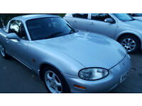 MAZDA MX5 CONVERTIBLE WITH HARD TOP LOW MILEAGE 65000. FULL MOT. SILVER