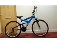 Dual Suspension Mountain Bike (used twice only) with new helmet, new tyre pump and new D-type lock