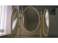 beautiful shabby chic French style triple dressing table mirror