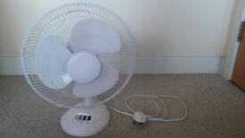 White portable desk fan