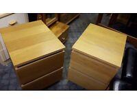Ikea Bedside Cabinets in Oak Veneer