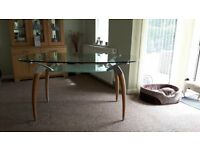 GLASS DINING ROOM TABLE & MATCHING COFFEE TABLE