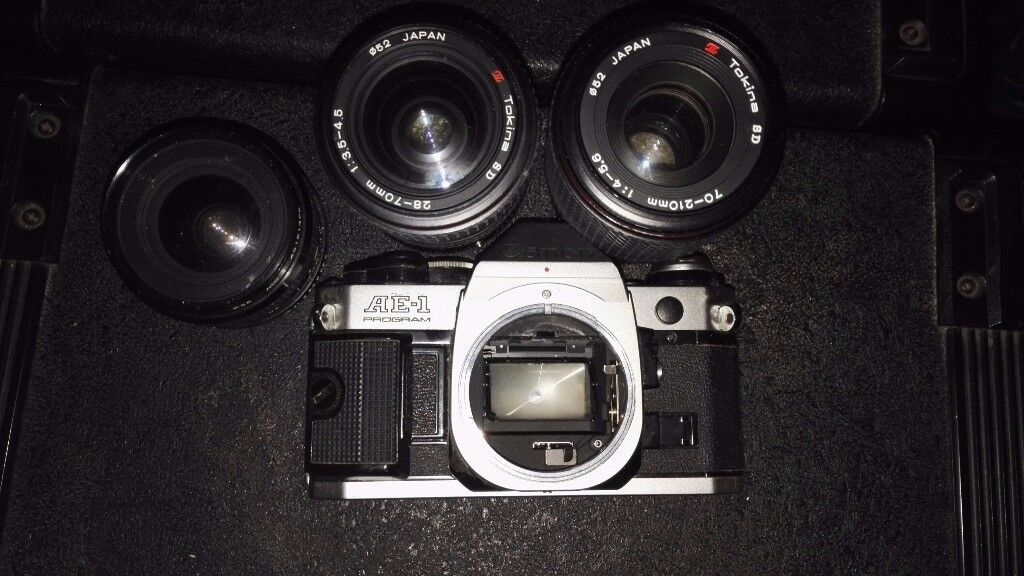 Canon AE-1 camera and 3x lenses