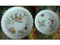 Two Royal Worcester Evesham Fine Porcelain Quiche Flan Dishes