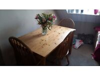 Solid pine dining table chairs