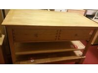 2 drawer coffee table - wood with wooden handles