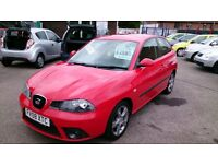 2008 SEAT IBIZA 1.9 TDI SPORT 3 DOOR HATCH IN RED NEW MOT 85K WITH S/HISTORY ALLOYS R/C/L 2 KEYS CD