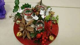 Beauful Christmas candles table arrangement