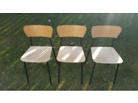 Set of 3 trendy beech and metal dining chairs £20 for lot