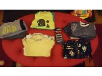 Baby boy clothes 12-18 months (18 items) includes GAP jumper, babygrows & a pair of moccasin shoes