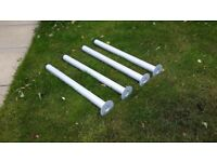 SET OF FOUR IKEA TABLE LEGS LIGHT GRAY 70OMM HIGH 50MM DIAMITER GOOD CONDITION