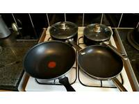 Pan set. Inc Tefal wok
