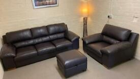 Leather DFS sofa chair + foot stool (free delivery)