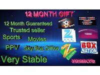 12 MONTHS GIFT ZGEMMA 2S/H2S/HS/H2H SKYBOX OPENBOX V8S DREAMBOX TECHNOMATE