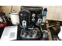 KITCHENAID ARTISAN COFFEE MACHINE BLACK WITH STEAM WAND AND ATTACHMENTS