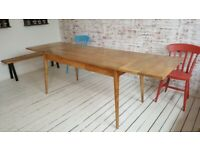 Mid-Century Extendable Modern Living Hardwood Dining Table with Drawer - Space Saving