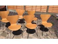 Original Designer Fritz Hansen chairs for sale.