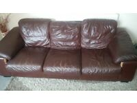 FREE TO COLLECT. Brown leather 3 seater settee and armchair