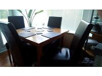 Extending dining table and 4chairs