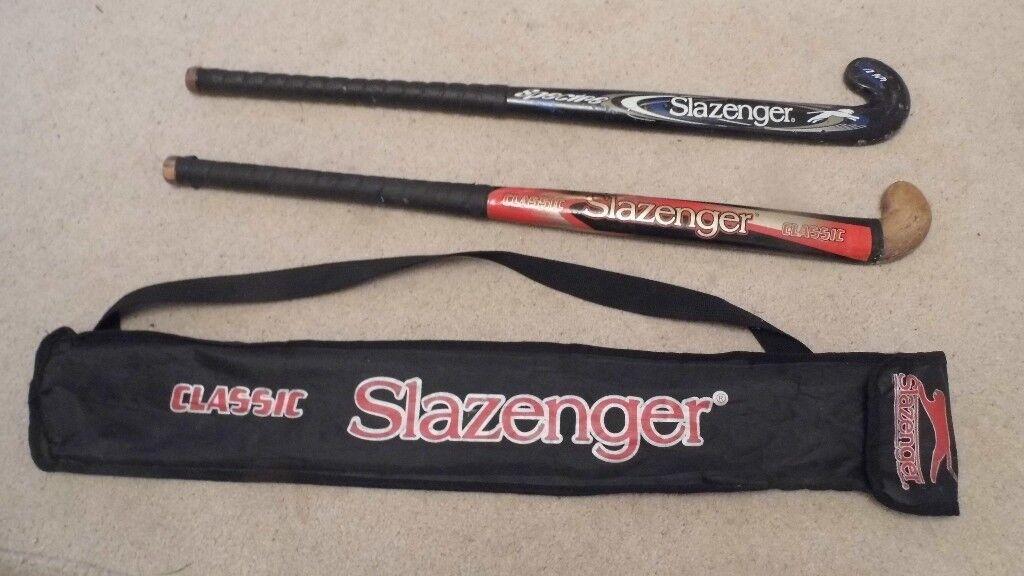 "2 X 32""SLAZENGER HOCKEY STICKS WITH CARRY BAG - USED BUT PLENTY OF LIFE LEFT IN THEM"