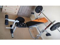 V-fit Herculean STB 09-2 Folding Workout Bench with 80kg weights