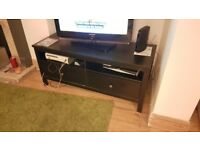 TV stand as IKEA Hemnes TV bench. Black/brown real wood finish.