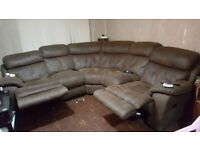 Large brown suede corner recliner