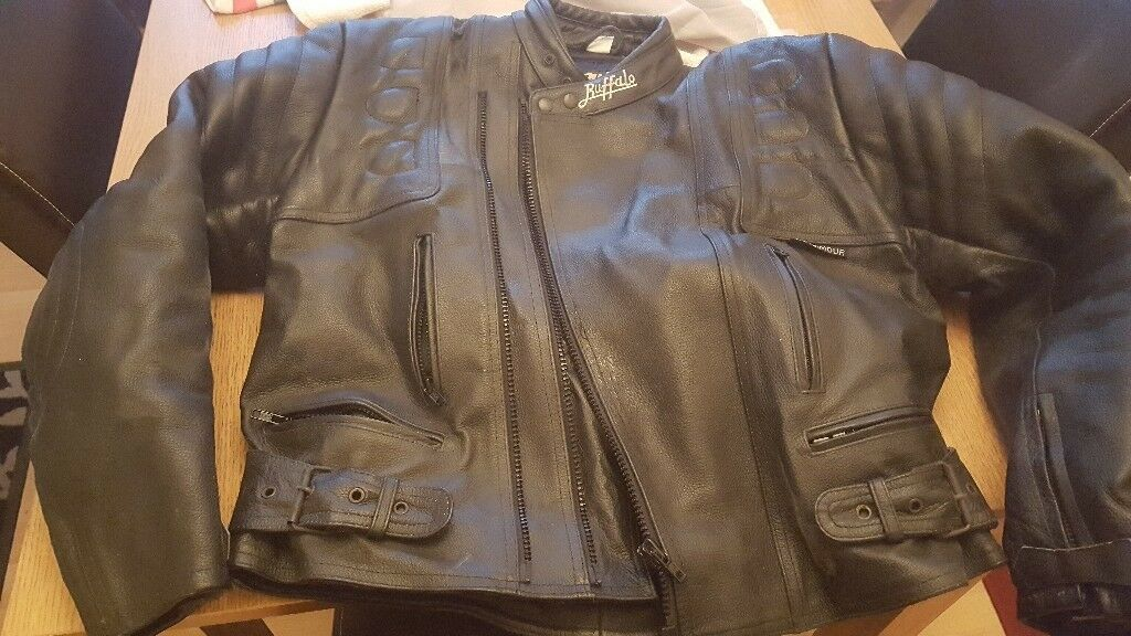 Bargain!! - Black Leather Buffalo Armoured Motorcycle Jacket