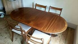 Vintage mahogany dining table and chairs